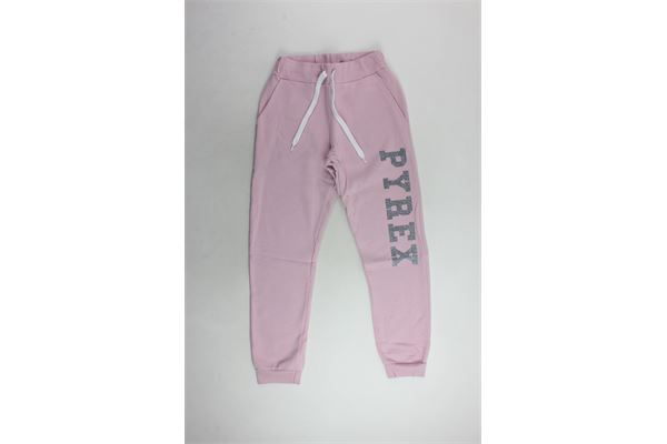 pantalone tuta felpato tinta unita con stampa brillantinata PYREX | Pantaloni | 18IPB34237ROSA