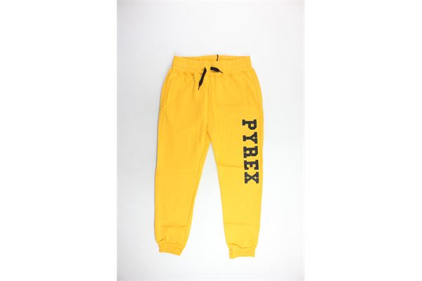 pantalone tuta felpato tinta unita con stampa PYREX | Pantaloni | PANTALONIPYREX6GIALLO