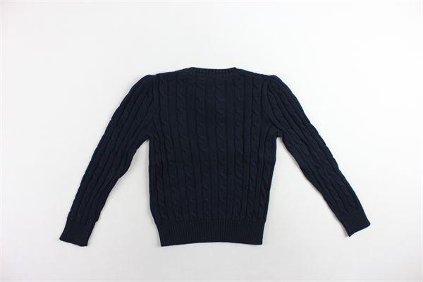 maglione tinta unita in filo bottoni alla spalla RALPH LAUREN | Maglie | 311669602001BLU