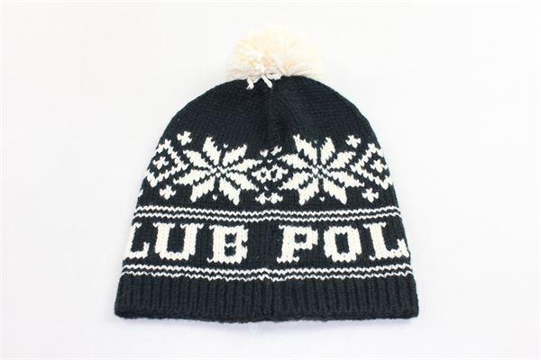 cappello in lana stampa fantasia con pon pon in contrasto RALPH LAUREN | Cappelli | 312763444001NERO