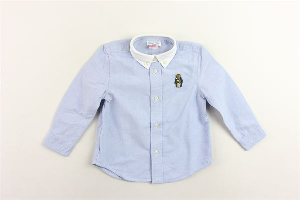 camicia manica lunga tinta unita con stampa orso in ricamo RALPH LAUREN | Camicie | 320750034001CELESTE