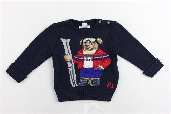 maglione girocollo in lana tinta unita con stampa e bottoni alla spalla RALPH LAUREN | Maglie | 320760323001BLU