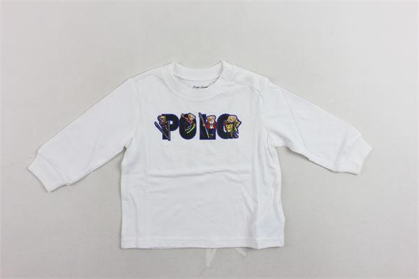 shirt in cotone manica lunga con stampa e bottoni alla spalla. RALPH LAUREN | Shirts | 320771179001BIANCO