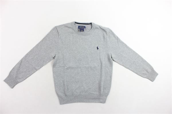 maglione girocollo 100%cotone tinta unita con logo RALPH LAUREN | Maglie | 321702192002GRIGIO