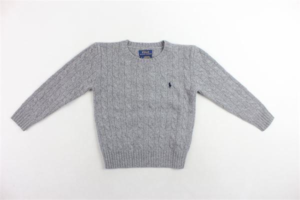 maglione girocollo in lana tinta unita con logo RALPH LAUREN | Maglie | 321702589001GRIGIO
