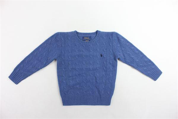 maglione girocollo in lana tinta unita con logo RALPH LAUREN | Maglie | 321702589002BLUETTE