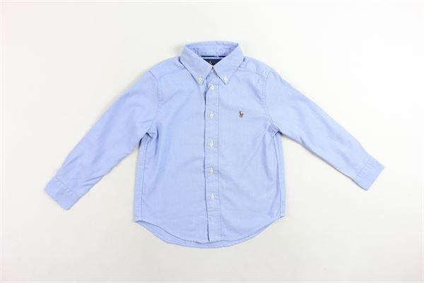 camicia tinta unita in cotone con logo RALPH LAUREN | Camicie | 321703694001CELESTE