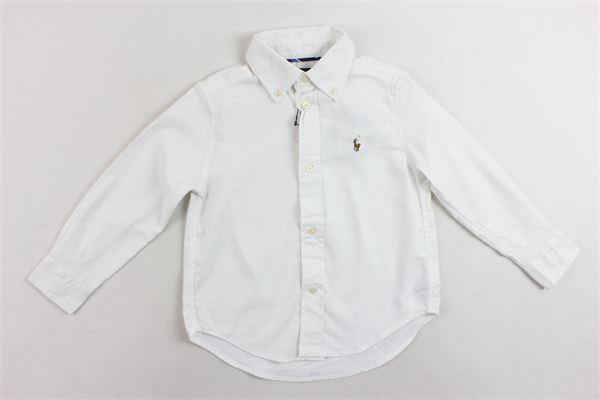 camicia tinta unita in cotone con logo RALPH LAUREN | Camicie | 321703694002BIANCO