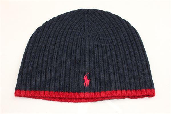cappello in lana tinta unita con logo RALPH LAUREN | Cappelli | 322671110001BLU