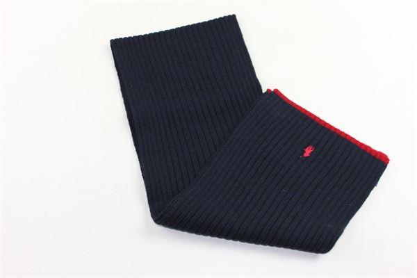 sciarpa in lana tinta unita con logo RALPH LAUREN | Sciarpe | 322671111001BLU