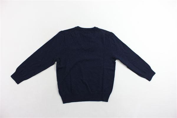 maglione 100%cotone scollo  a punta tinta unita con logo RALPH LAUREN | Maglie | 322702188001BLU