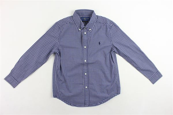 camicia in cotone microfantasia quadri RALPH LAUREN | Camicie | 322702872001BLU