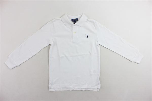 polo manica lunga in cotone tinta unita con logo RALPH LAUREN | Polo | 322703634013BIANCO