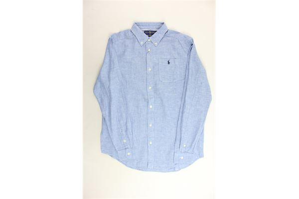 camicie manica lunga tinta unita in lino con taschino RALPH LAUREN | Camicie | 323690057002CELESTE