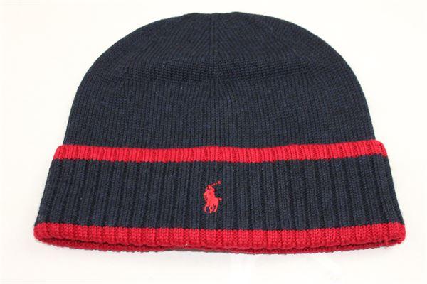 cappello in lana tinta unita con logo RALPH LAUREN | Cappelli | 323702969001BLU