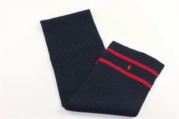 sciarpa in lana tinta unita con logo e profili in contrasto RALPH LAUREN | Sciarpe | 323702973001BLU
