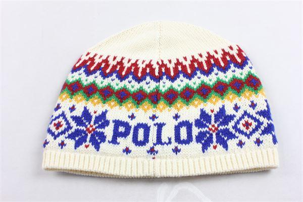 cappello in lana imbottitura in pile all'interno stampa fantasia RALPH LAUREN | Cappelli | 323763459001BIANCO