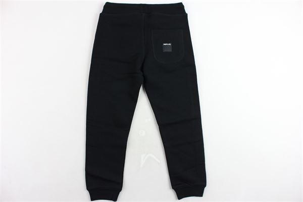 pantalone tuta felpato tinta unita con profili in contrasto REPLAY | Pantaloni | SB6001NERO