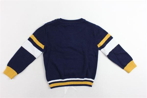 maglione girocollo tinta unita profili colorati bottoni alla spalla SARABANDA | Maglie | 0K105/00BLU