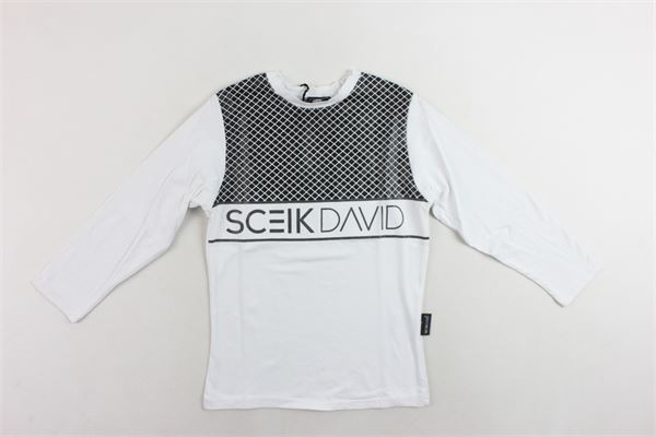 shirt manica lunga tinta unita con stampa SCEIK DAVID | Shirts | TB043BIANCO