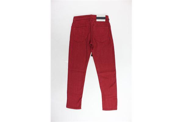pantalone 5 tasche tinta unita con applicazione SIVIGLIA | Pantaloni | S-029-P021J-10145B-029ROSSO