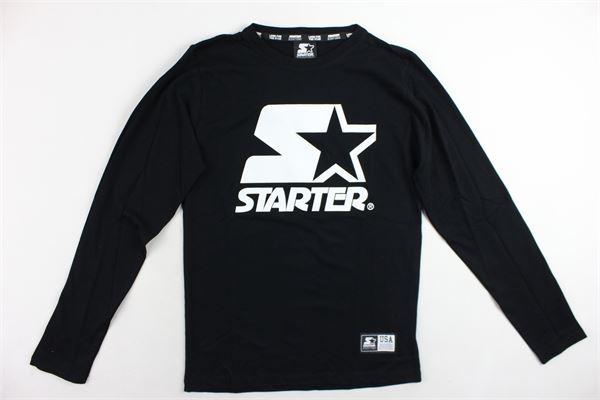 shirt manica lunga tinta unita con stampa STARTER | Shirts | TSST8301/1NERO