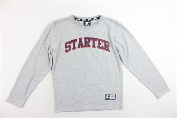 shirt manica lunga tinta unita con stampa STARTER | Shirts | TSST8303/1GRIGIO