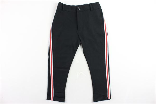 pantalone tinta unita elastico in vita tasca a filo profili in contrasto STAY STREET | Pantaloni | PB802NERO