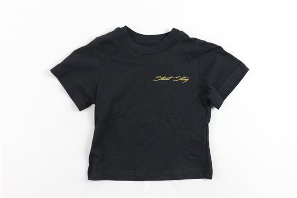 t-shirt mezza manica tinta unita con stampa bottoni alla spalla STAY STREET | T-shirts | TN902NERO