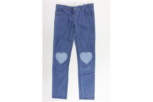jeans 5 tasche tinta unita con stampa cuori STELLA McCARTNEY | Jeans | 518880SLK654162BLU