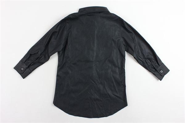 camicia lunga in ecopelle tinta unita T+ART | Camicie | 06BNERO