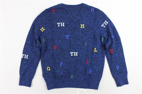 maglione girocollo tinta unita microfantasia TOMMY HILFIGER | Maglie | KB0KB04246002BLU