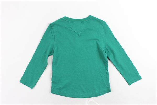 shirt in cotone tinta unita con stampa TOMMY HILFIGER | Shirts | KB0KB04279394VERDE