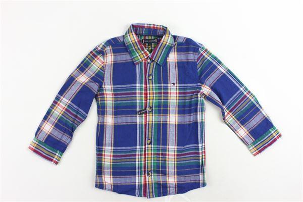 camicia manica lunga cotone caldo fantasia a quadri TOMMY HILFIGER | Camicie | KB0KB04283401BLU