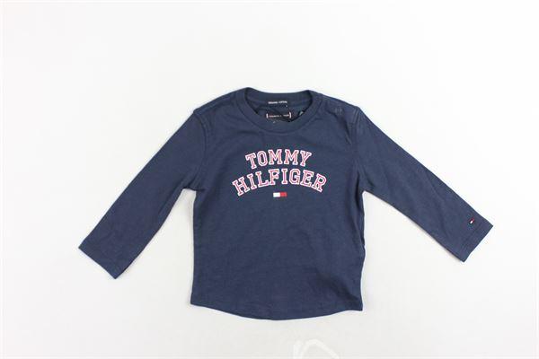 shirt in cotone tinta unita con stampa bottoni alla spalla TOMMY HILFIGER | Shirts | KB0KB04432002BLU