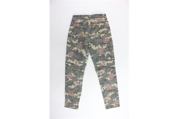 pantalone 5 tasche fantasia mimetica con stampa a fiori e tasche con zip TWINSET | Pantaloni | GA82EB/1VERDE MILITARE