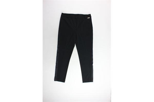 pantalone tinta unita profili in raso TWINSET | Pantaloni | IA7JDDNERO
