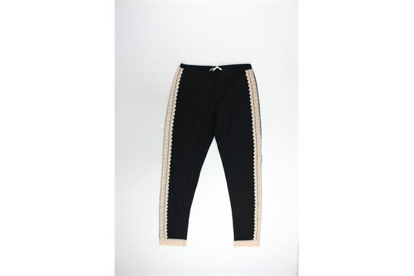 pantalone felpato tinta unita profili in pizzo TWINSET | Pantaloni | LA6RCCNERO