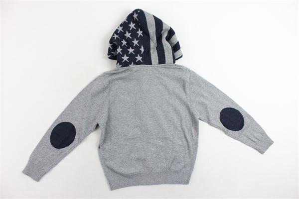 felpa in lana e cotone zip e cappuccio tinta unita profili in contrasto U.S. POLO | Felpe | 50482GRIGIO