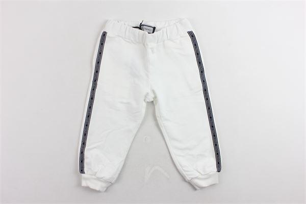 pantalone in felpa in cotone tointa unita con profili in contrasto VERSACE | Pantaloni | YA000076BIANCO