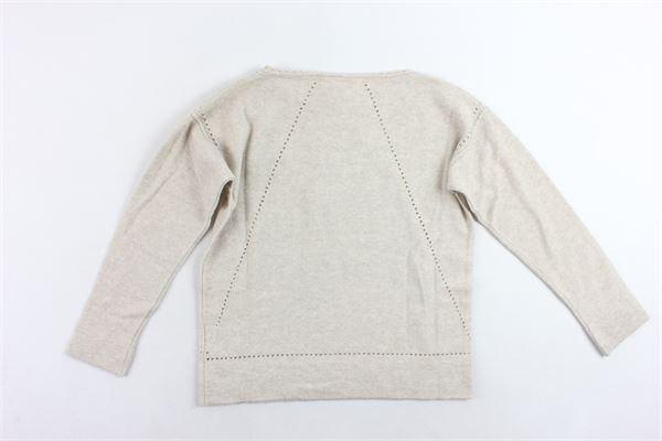 maglione in lana tinta unita con trafori VIA ELISA | Maglie | 4451BEIGE