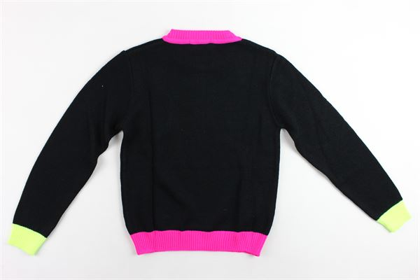 maglione girocollo in lana tinta unita profili in contrasto con applicazione spilla VICOLO | Maglie | 3141W0116NERO