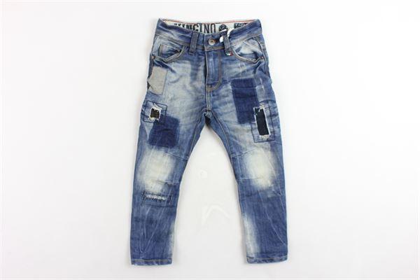 jeans 5 tasche tinta unita girovita regolabile con finte toppe VINGINO | Jeans | CADEN BOYSBLU