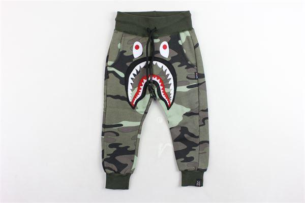 pantalone tuta felpato fantasia mimetica con stampa WGM | Pantaloni | 009VERDE