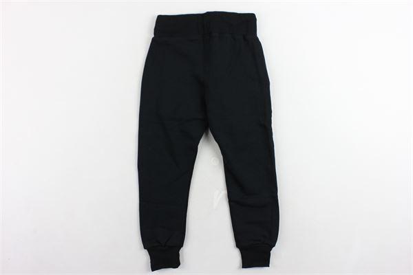 pantalone tuta felpato tinta unita con stampa WGM | Pantaloni | 011NERO