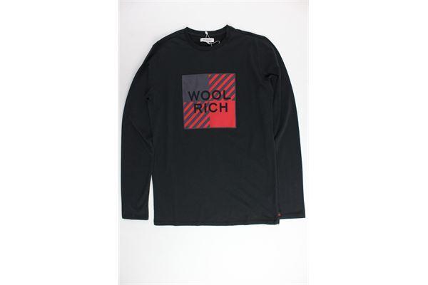 shirt manica lunga tinta unita con stampa WOOLRICH | Shirts | WKTEE1282NERO