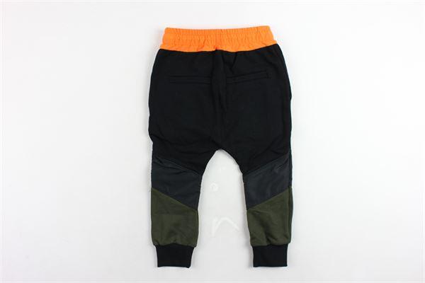 pantalone tuta garzato tinta unita elastico in vita in contrasto YES LONDON | Pantaloni | 216NERO