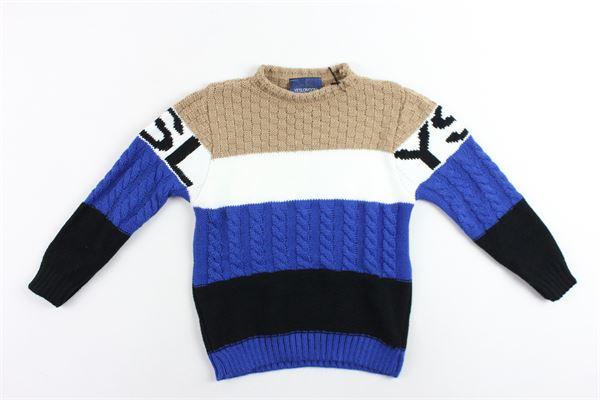 maglione girocollo in lana bicolore con stampa YES LONDON | Maglie | AL-104COBALTO