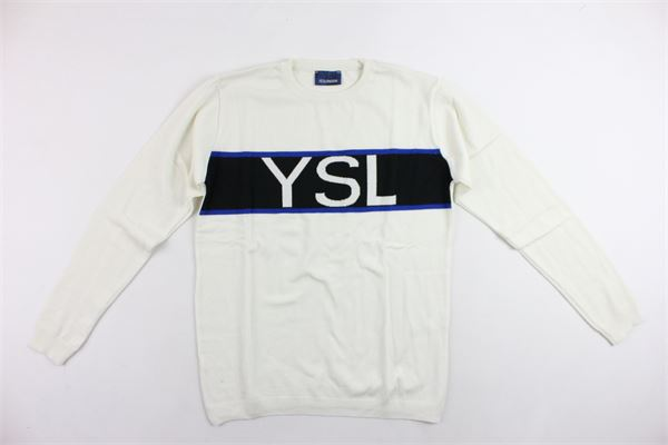 maglione in lana tinta unita stampa in contrasto YES LONDON | Maglie | AL-108BIANCO
