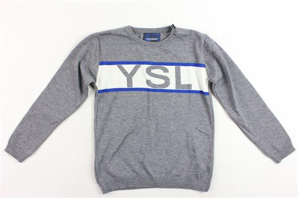 maglione in lana tinta unita stampa in contrasto YES LONDON | Maglie | AL-108GRIGIO
